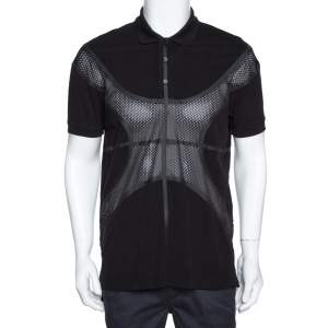 Givenchy Black Cotton Pique Mesh Paneled Oversized Polo T Shirt XS
