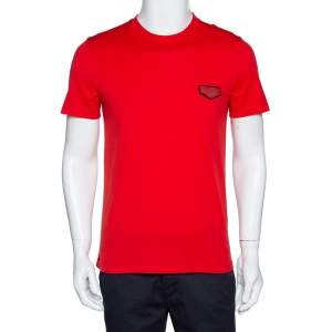 Givenchy Red Cotton Logo Patch Detail T Shirt S