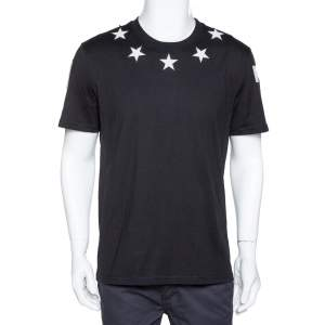 Givenchy Black Cotton Star Patch Crew Neck T-Shirt XL