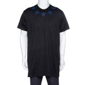Givenchy Black & Blue Cotton Star Embroidered Crew Neck T Shirt S