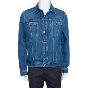 Givenchy Blue Logo Print Denim Button Front Jacket XL