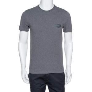 Givenchy Dark Grey Melange Cotton Cuban Fit T-Shirt S
