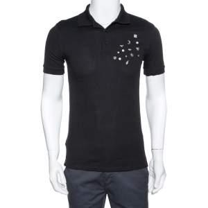 Givenchy Black Cotton Multi Symbols Detail Slim Fit Polo T-Shirt S
