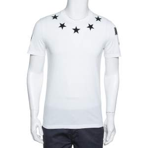Givenchy White Cotton Star Appliqued '74' Cuban Fit T-Shirt S