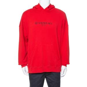 Givenchy Red Distressed Logo Print Cotton Hoodie XXL