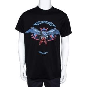 Givenchy Black Cotton Eagle Print Crew Neck T-Shirt XS
