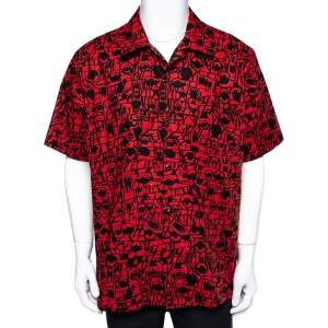 Givenchy Red Monster Print Cotton Hawaiian Shirt XL