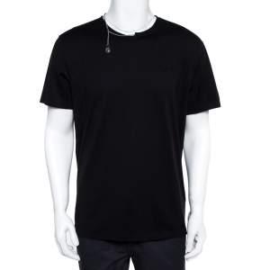 Givenchy Black Cotton Knit Chain Detail T-Shirt XL