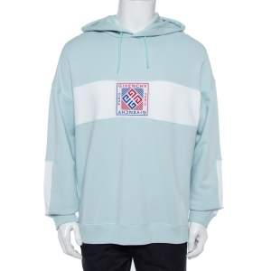 Givenchy Ice Blue Cotton 4G Patch Hoodie XL