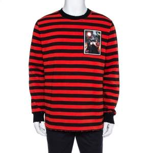 Givenchy  Red & Black Stripe Cotton Sweatshirt M