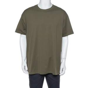 Givenchy Olive Green Cotton Logo Patched Columbian Fit T-Shirt XL