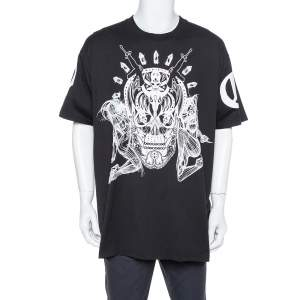Givenchy Black Elmerinda Print Cotton Crew Neck T-Shirt XXL