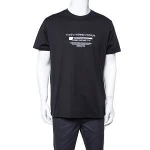 Givenchy Black Studio Homme Podium Printed Cotton Crewneck T Shirt M