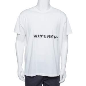 Givenchy White Cotton Logo Printed Crewneck Distressed T-Shirt L
