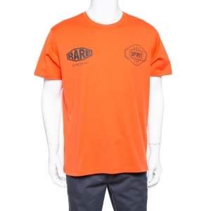 Givenchy Orange Cotton Logo Printed Crewneck T-shirt L