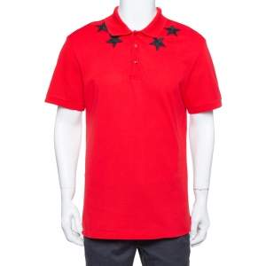 Givenchy Red Cotton Pique Star Embroidered Polo T Shirt XXL