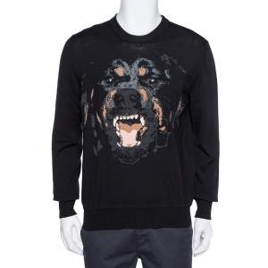 Givenchy Black Wool Rottweiler Intarsia Knit Sweater L