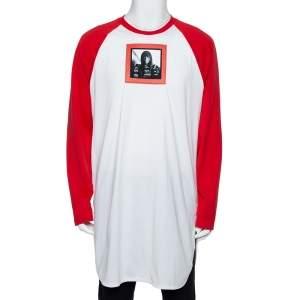 Givenchy Red & White Printed Cotton Baseball T-Shirt XL