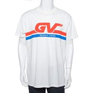 Givenchy White World Tour Printed Cotton Crewneck T-Shirt S