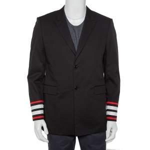 جاكيت جيفنشي مزين حافة متباينة اللون أزرار أمامية قطن أسود مقاس كبير جداً (اكس لارج)