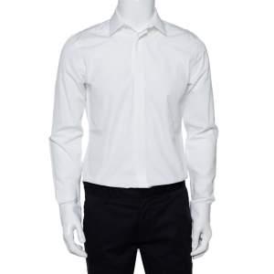 قميص جيفنشي أزرار أمامية قطن مطرز نجمة أبيض مقاس وسط (ميديوم)