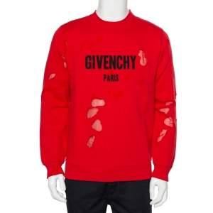 Givenchy Red Cotton Logo Printed Distressed Crewneck Sweatshirt S