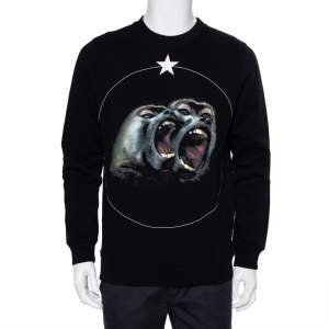 Givenchy Black Cotton Monkey Brothers Graphic Printed Crewneck Sweatshirt S