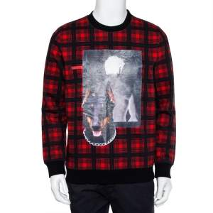 Givenchy Red & Black Cotton Tartan Doberman Printed Crewneck Sweatshirt S