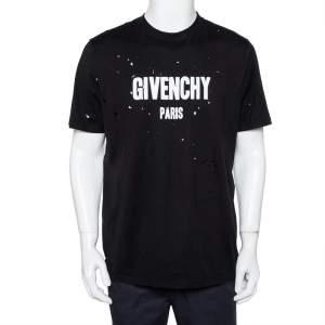Givenchy Black Logo Print Cotton Oversized Distressed T-shirt M