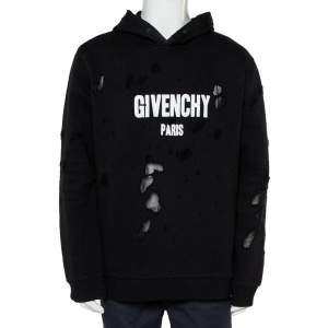 Givenchy Black Cotton Distressed Hoodie XXL