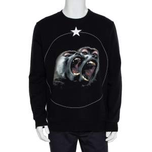 Givenchy Black Cotton Monkey Brothers Graphic Sweatshirt M