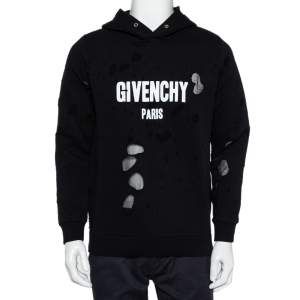 Givenchy Black Logo Print Cotton Distressed Hooded Sweatshirt S