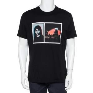 تي شيرت جيفنشي رقبة مستديرة قطن طباعة غرافيك أسود مقاس كبير جداً