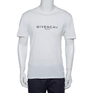تي شيرت جيفنشي قطن طباعة شعار ممزق أبيض مقاس كبير جداً