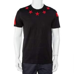 Givenchy Black Cotton Star Applique Detail Crewneck T-Shirt M