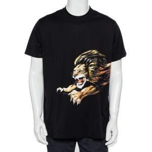 Givenchy Black Lion Printed  Signature Cotton Oversized T-Shirt S