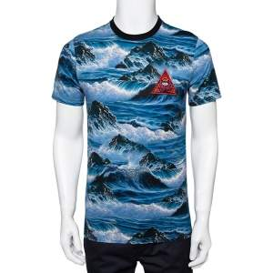 Givenchy Blue Printed Cotton Crew Neck T-Shirt S