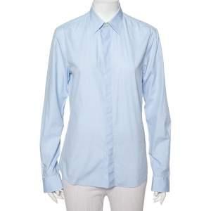 قميص جيفنشي كلاسيك فيت بأزرار أمامية وأكمام طويلة قطن أبيض أزرق فاتح مقاس صغير - سمول