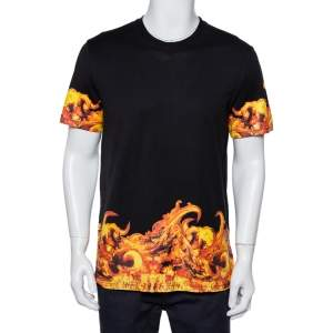 Givenchy Black Flames Printed Cotton Crewneck T-Shirt L
