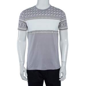 Givenchy Grey Geometric Printed Cotton Crewneck T-Shirt M