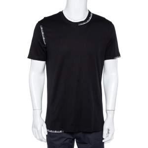 Givenchy Black Cotton Slim Fit Tape Detail Crew Neck T-Shirt L