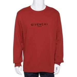 Givenchy Red Logo Printed Cotton Knit Crewneck Sweatshirt L