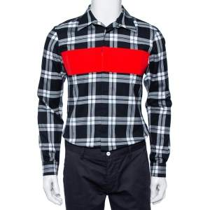 Givenchy Black Plaided Cotton Contrast Paneled Button Front Shirt M
