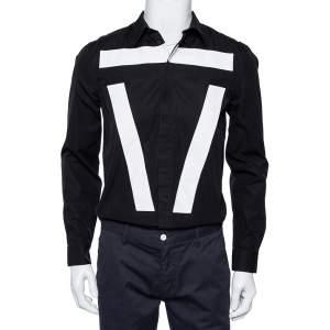 Givenchy Black Cotton Contrast Detail Button Front Shirt M