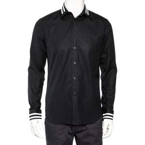Givenchy Vintage Black Cotton Contrast Stripe Detail Button Front Shirt M