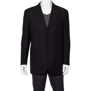 Givenchy Vintage Midnight Blue Wool Button Front Blazer L