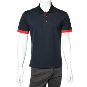 Givenchy Navy Blue HDG Patch Detail Cotton Pique Contrast Trim Polo T-Shirt XL