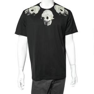 Givenchy Black Skull Printed Cotton Crewneck T-Shirt XL