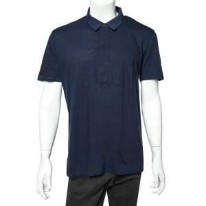 Givenchy Blue Cotton & Linen Polo T-Shirt XL