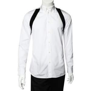 Givenchy White Cotton Contrast Trim Button Front Shirt M